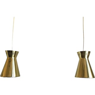 1950s Lightolier Double Cone Pendants - a Pair For Sale