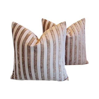 Custom Tailored French Velvet Striped Feather/Down Pillows - a Pair For Sale
