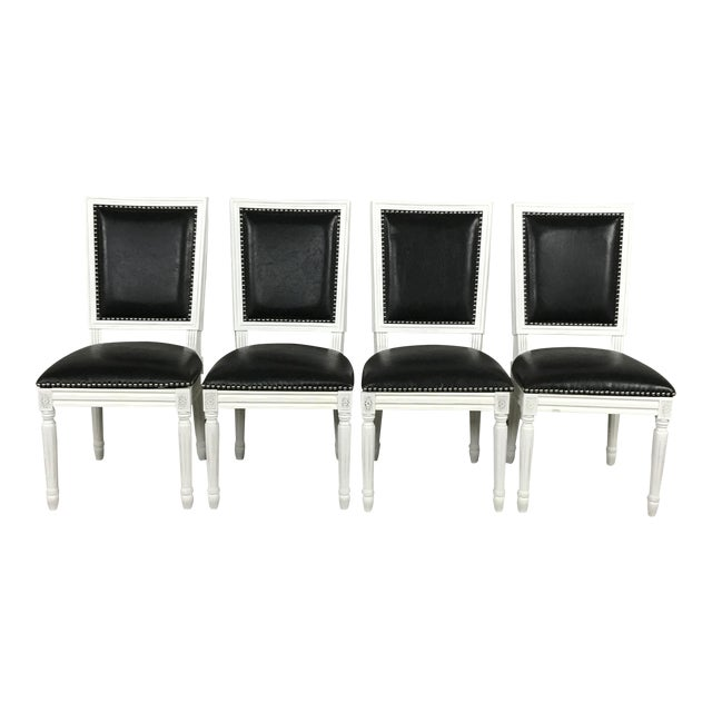 Leather Louis Dining Chairs - Set of 4 - Image 1 of 11