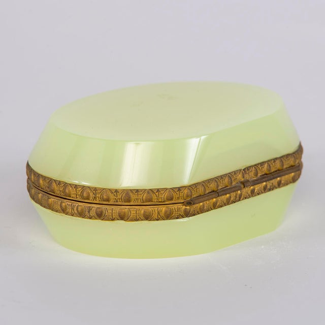 Art Deco French Uranium Opaline Glass and Brass Hinged Box For Sale - Image 3 of 9