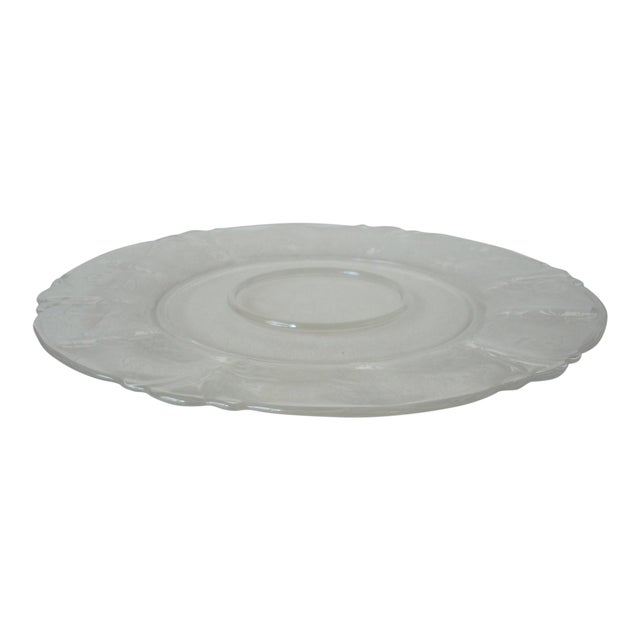 Cambridge Glass Serving Platter with Lily of the Valley Etching For Sale