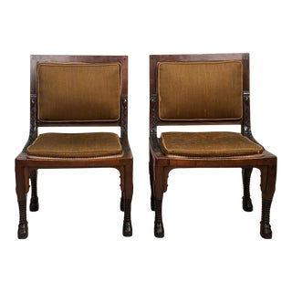 Pair of Egyptian Revival Side Chairs, France Circa 1820 For Sale
