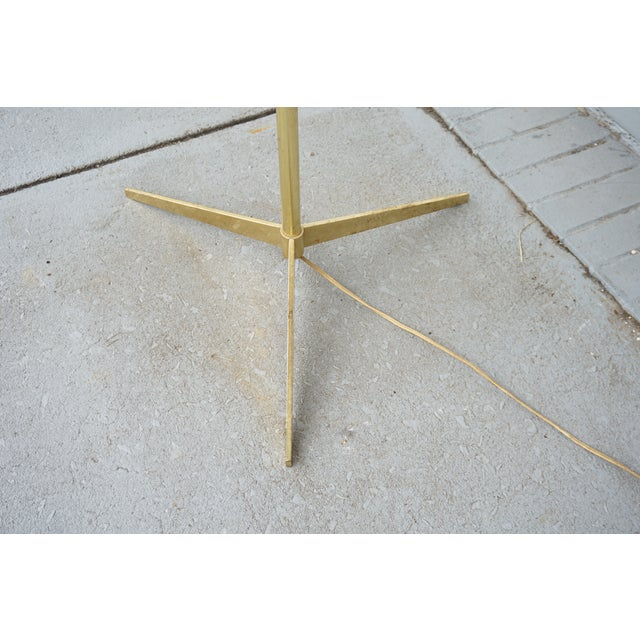 Brass Vintage Mid-Century Paul McCobb Style Brass Floor Lamp Table For Sale - Image 7 of 11