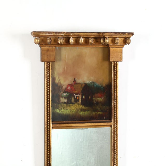 Rare 1800's Federal Looking Glass, with projecting cornice, verre églomisé panel depicting a farmhouse, flanked by beaded...