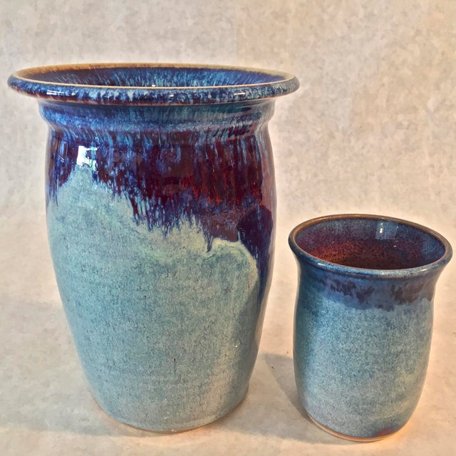 Contemporary Handmade Pottery Vases - A Pair For Sale In Tampa - Image 6 of 6