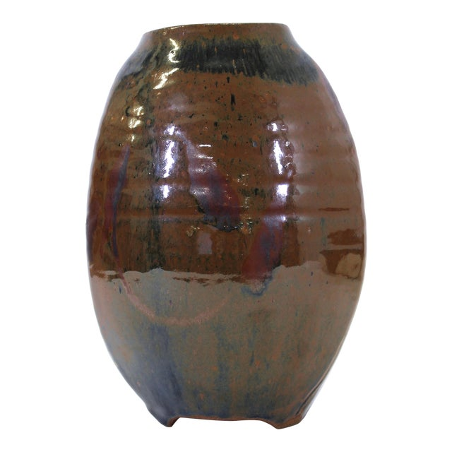 Japanese Mid-Century Modern Studio Pottery Vase For Sale
