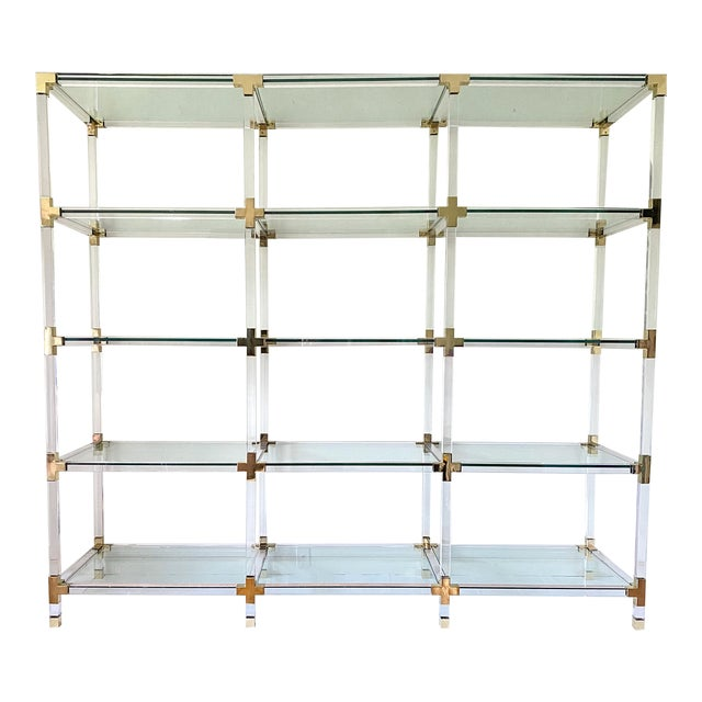 Vintage Large Lucite Brass and Glass Bookcase Etagere For Sale