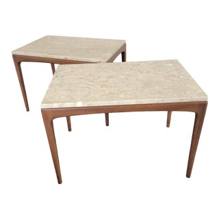1960s Mid-Century Modern Wood and Travertine End Tables - a Pair For Sale