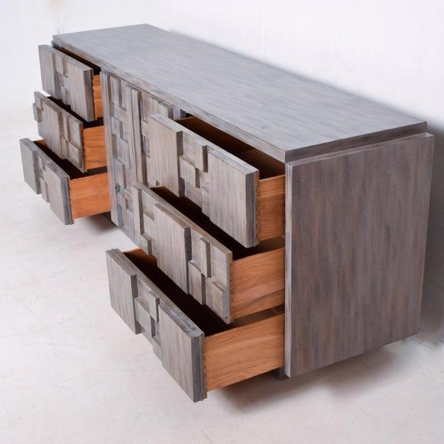 Mid-Century Modern Brutalist Dresser, Lane Patchwork Walnut Tiles, After Paul Evans For Sale - Image 9 of 10
