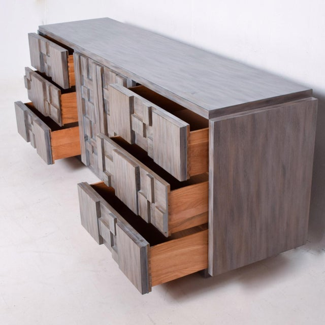 Mid-Century Modern Brutalist Dresser with Lane Patchwork Walnut Tiles For Sale - Image 9 of 10