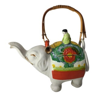 Vintage Green and Red Painted Elephant Tea Pot For Sale