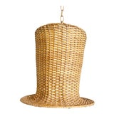 Image of Wicker Top Hat Pendant Light For Sale