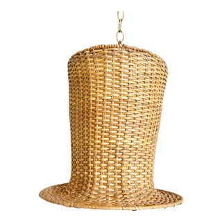 Wicker Top Hat Pendant Light For Sale