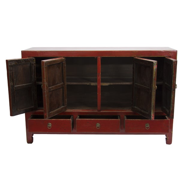 Antique Gansu Red Chinese Elm Wood Cabinet - Image 2 of 3