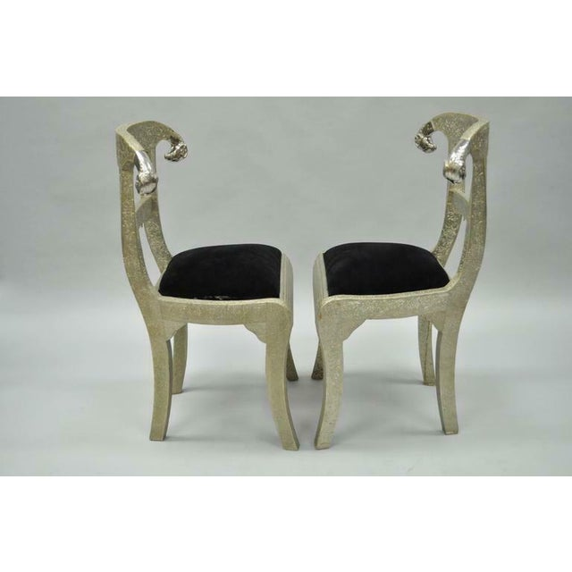 Anglo-Indian Vintage Mid Century Metal Wrapped Anglo Indian Regency Style Dowry Wedding Chairs For Sale - Image 3 of 10
