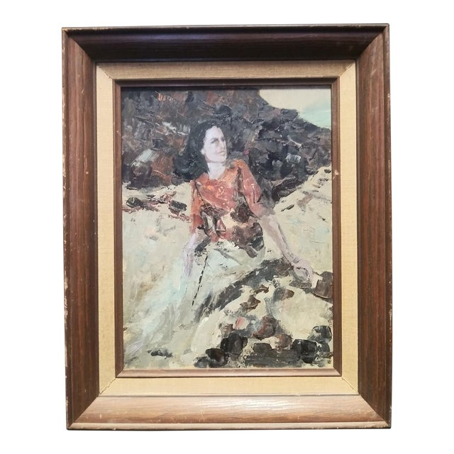 Vintage Mid-Century Lady on the Rocks Painting For Sale
