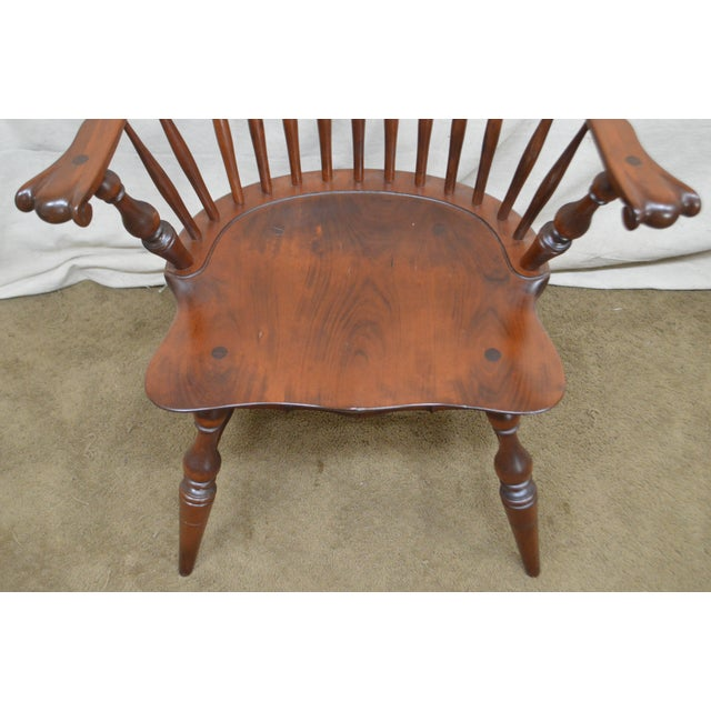 1990s Custom Quality Pair of Solid Cherry Windsor Armchairs For Sale - Image 5 of 13