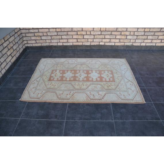 Textile 1960s Vintage Turkish Hand-Knotted Rug - 4′1″ × 5′11″ For Sale - Image 7 of 10