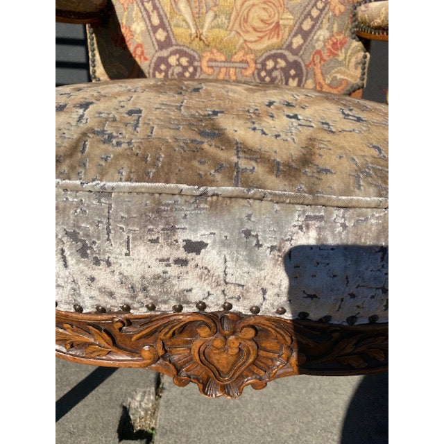 Traditional 19th Century French Walnut Petite Point Neelde Point Arm Chairs- A Pair For Sale - Image 3 of 12