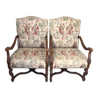 1980s Vintage Louis XIV Style Arm Chairs - a Pair For Sale
