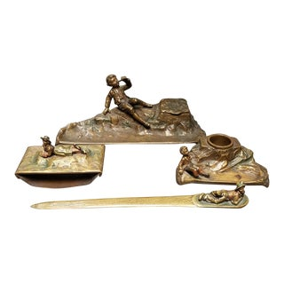 C. 1900 Austrian Art Nouveau H. Muller Style Gilt Bronze 4-Piece Figural Desk Set - Set of 4 For Sale