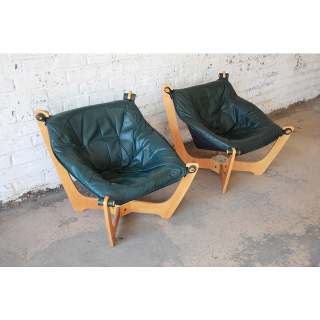Danish Modern Odd Knutsen Teak Luna Chairs in Green Aniline Leather - a Pair For Sale - Image 3 of 12