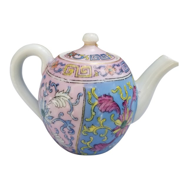 Antique Pastel Russian Teapot for One For Sale