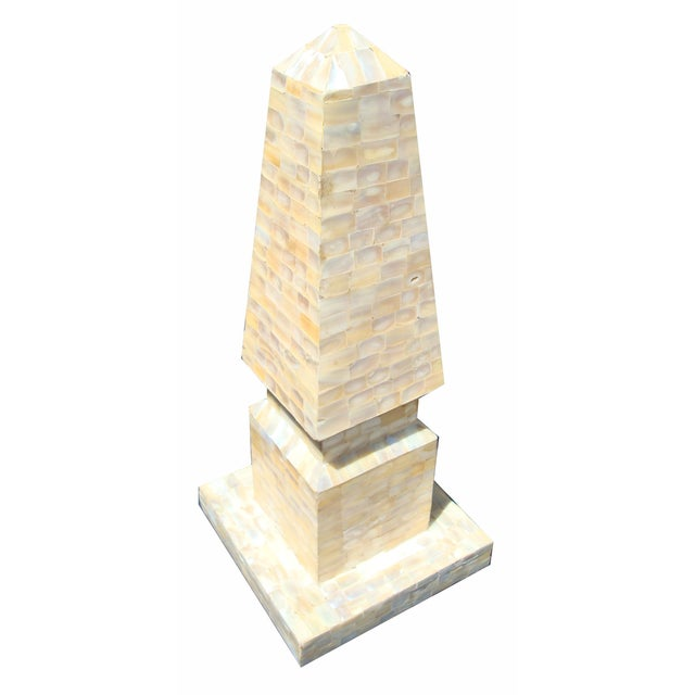 Hollywood Regency Large Mother of Pearl Obelisk For Sale - Image 3 of 5
