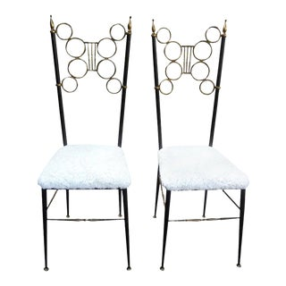Italian Brass and Iron Chiavari Chairs - a Pair For Sale