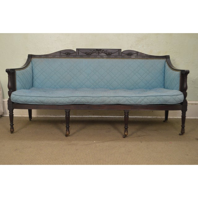 Blue Federal Style Antique American Custom Mahogany Frame Sofa For Sale - Image 8 of 13