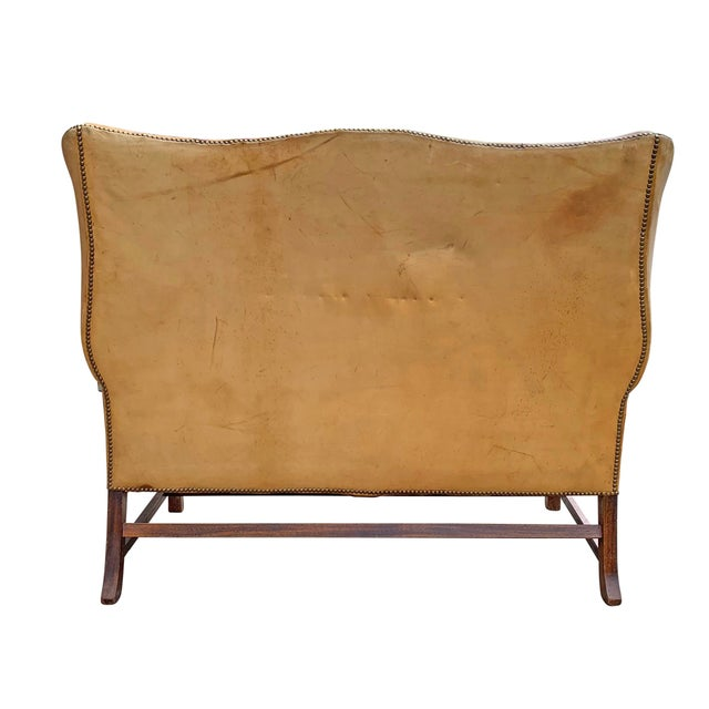 20th Century Vintage English Chippendale Style Wingback Settee For Sale - Image 11 of 13