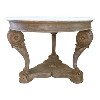 Hand-crafted Marble-top Center Table by William Switzer (Vancouver, B.C.) For Sale
