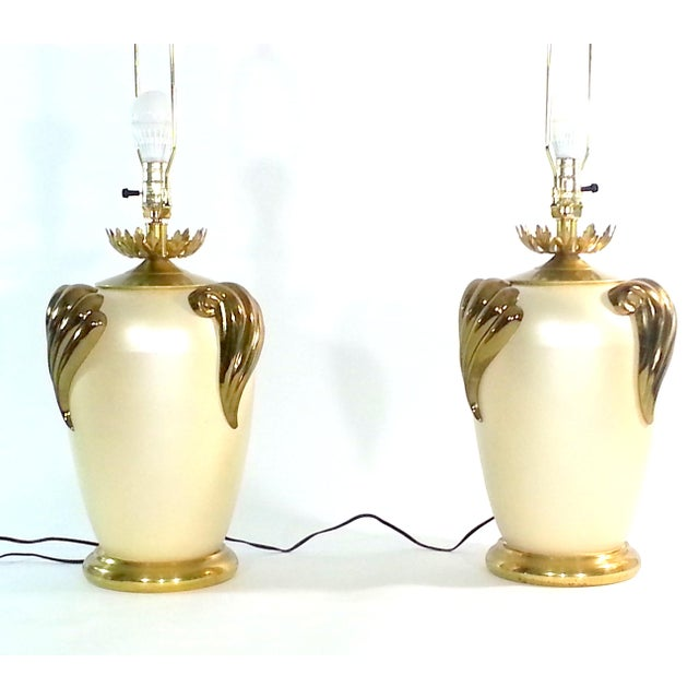 Hollywood Regency Mid-Century Hand Painted Cast Metal Table Lamps For Sale - Image 3 of 9