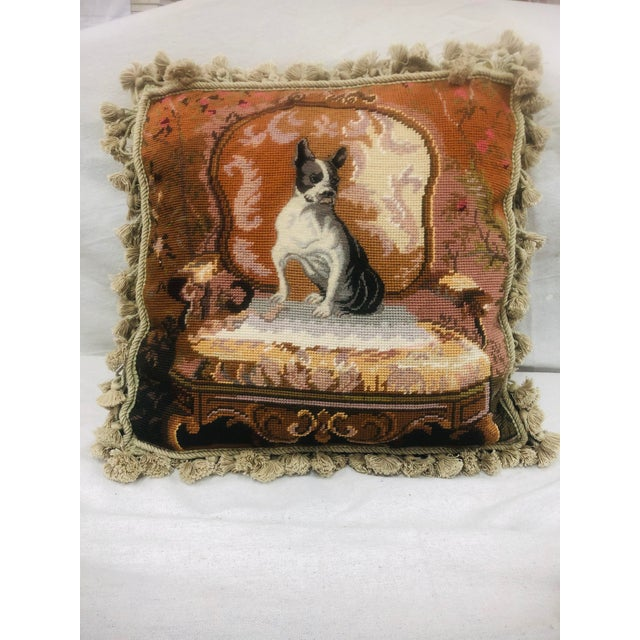 Vinatge Needlepoint With Tassel Trim Pillow of Bulldog For Sale - Image 13 of 13