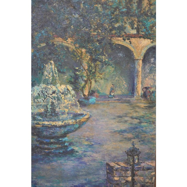 Mid Century Illuminated Fountain at Dusk Oil Painting by Ione Smith C.1967 For Sale In San Francisco - Image 6 of 9