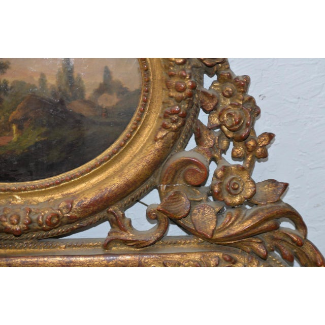 Glass Early 19th Century Painted & Gilt Frame Mirror For Sale - Image 7 of 9