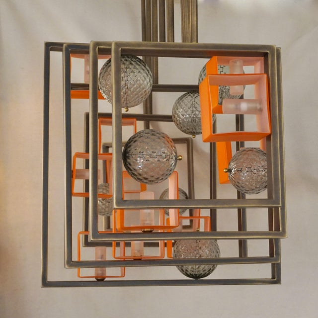 Minimalist Bronze Brass Cubic Chandelier With Orange & White Murano Glass Cubes For Sale - Image 4 of 11