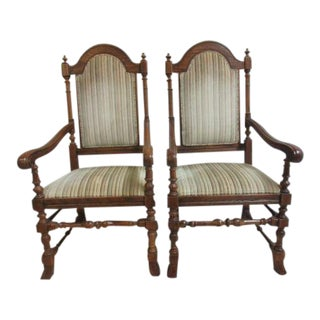 Ethan Allen Royal Charter Oak Jacobean Dining Chairs - A Pair For Sale