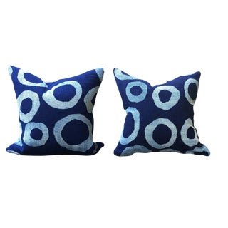 Contemporary Indigo Blue Pillows - A Pair For Sale