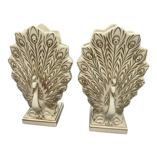 1940s Art Nouveau Peacock Ceramic Vases - a Pair For Sale
