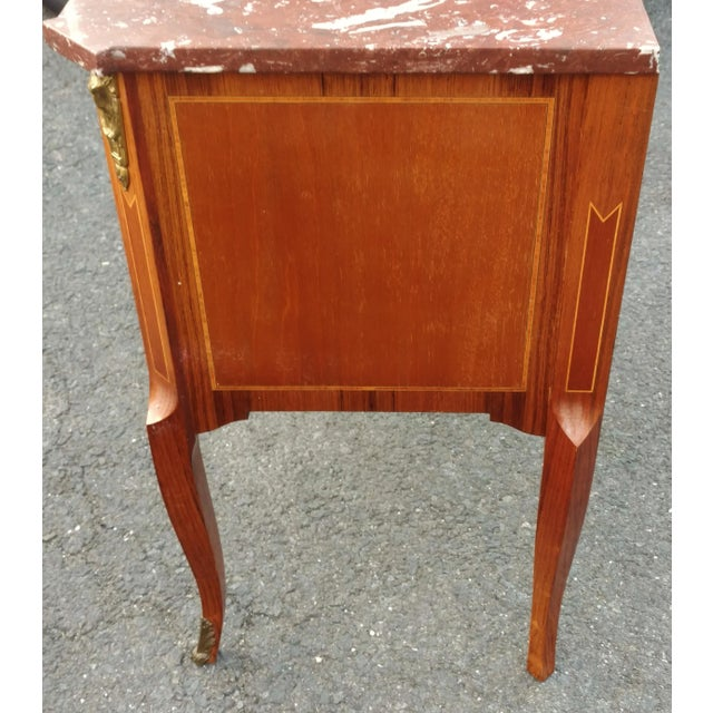 19th Century French Bronze Inlaid Marble Top Commode For Sale - Image 9 of 11