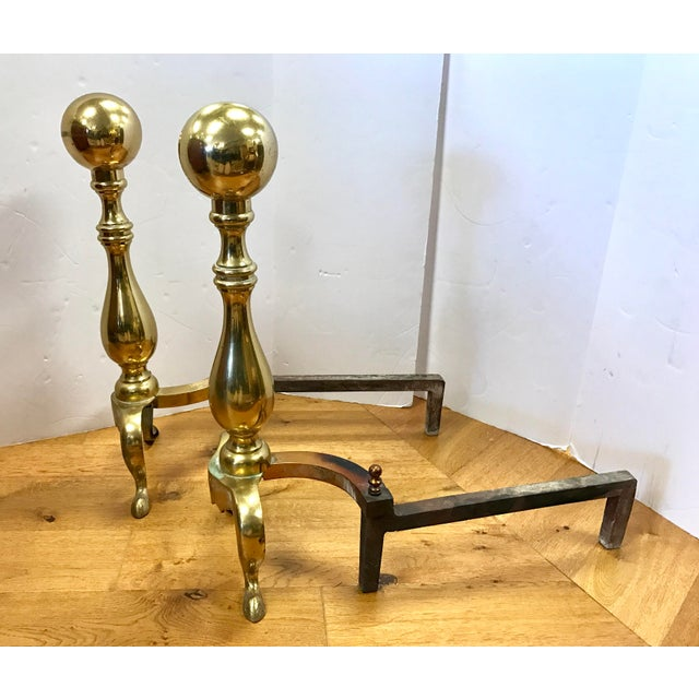 1940s New England Solid Cast Brass Andirons Fire Dogs - A Pair For Sale - Image 5 of 7