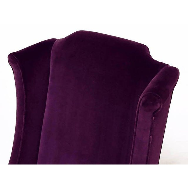 White Erwin-Lambeth Plum Velvet Neo-Chippendale Wing Chair For Sale - Image 8 of 10