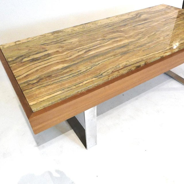 Chrome Ilse Möbel Coffee Table With Rare 'Onyx Travertine', Teak & Chrome From Germany For Sale - Image 7 of 12