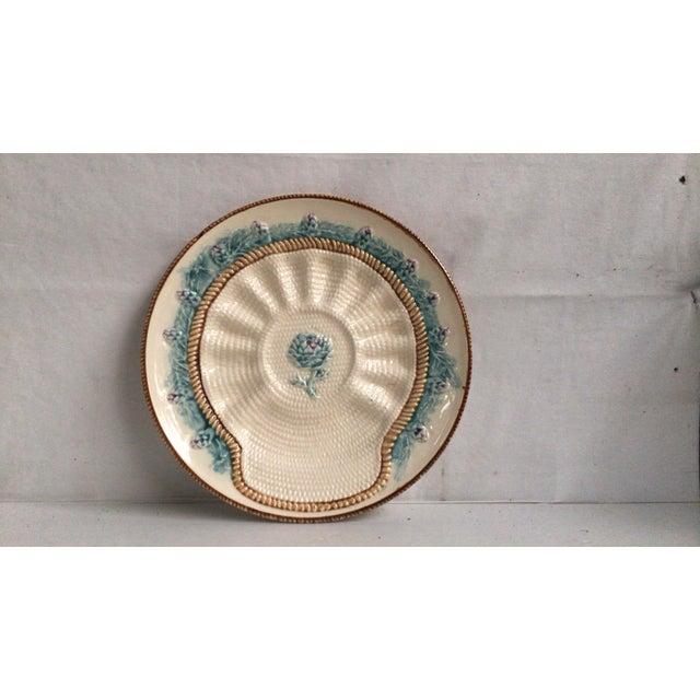 Ceramic Rare French Majolica Artichoke Plate Longchamp, Circa 1890 For Sale - Image 7 of 7