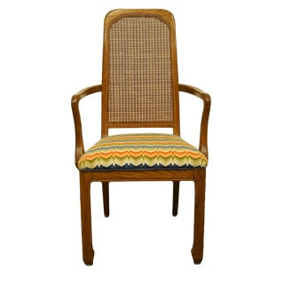 Davis Cabinet Italian Provincial Solid Walnut Cane Back Dining Arm Chair For Sale