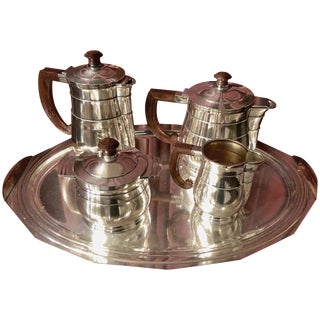 Five-Piece French Art Deco Silver Plated Tea and Coffee Service, 20th Century For Sale