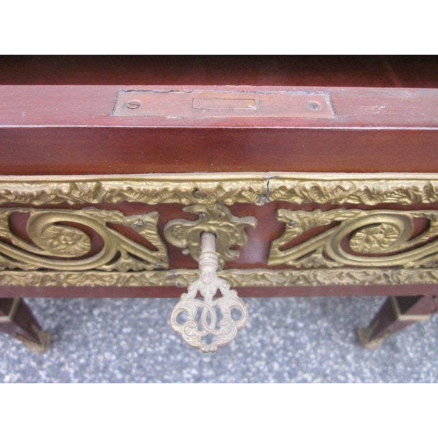 Red French Empire Style Desk with Leather Top For Sale - Image 8 of 10