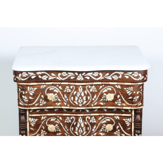 Islamic Pair of Syrian Mother-Of-Pearl Inlay Nightstands For Sale - Image 3 of 10