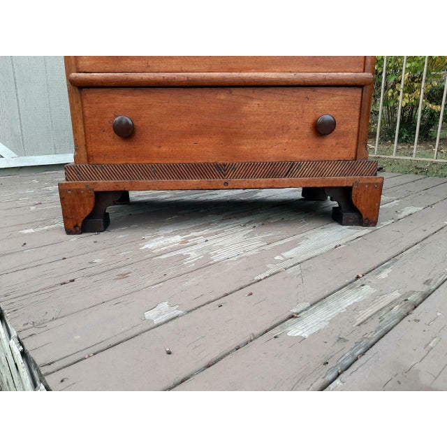 Wood Late 1700's Early 1800's Antique Primitive Farmhouse Solid Chestnut Chest of 5 Drawers For Sale - Image 7 of 13